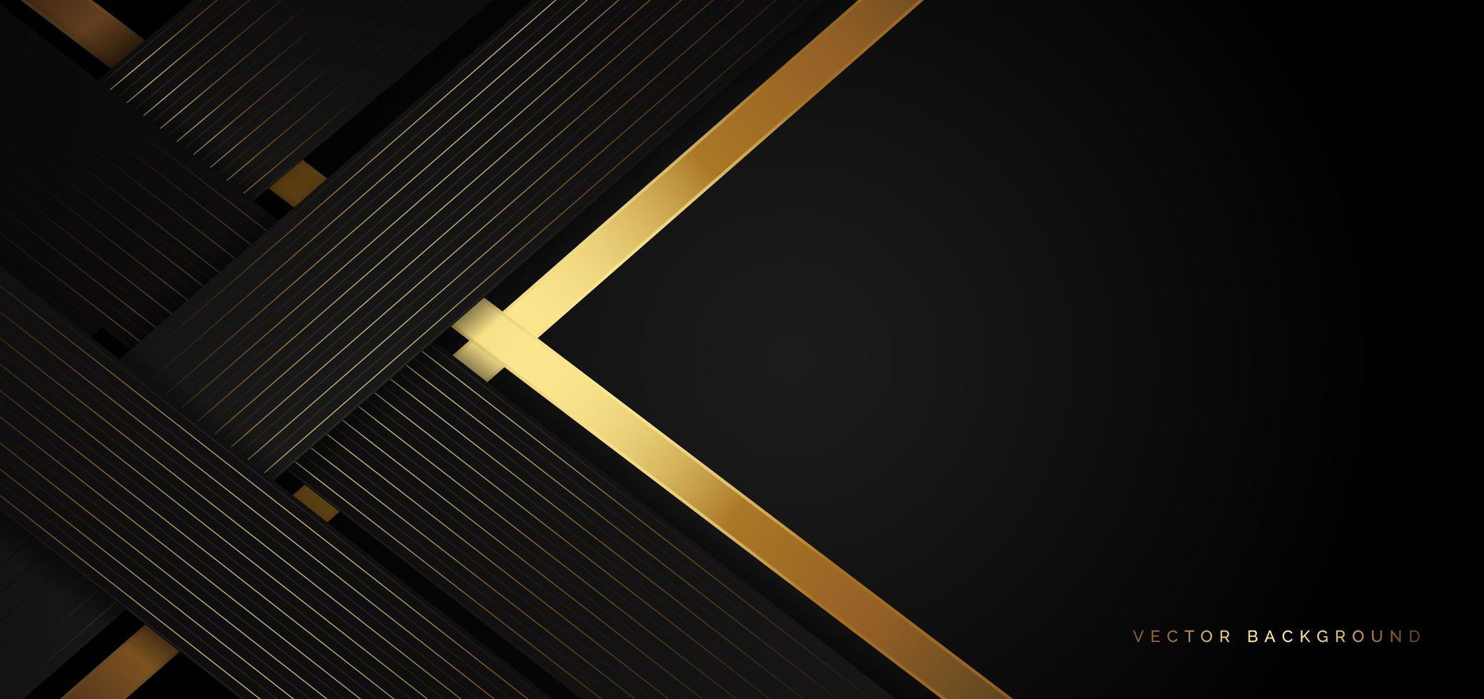 plantilla negra moderna con rayas doradas retorcidas en un estilo de lujo vector