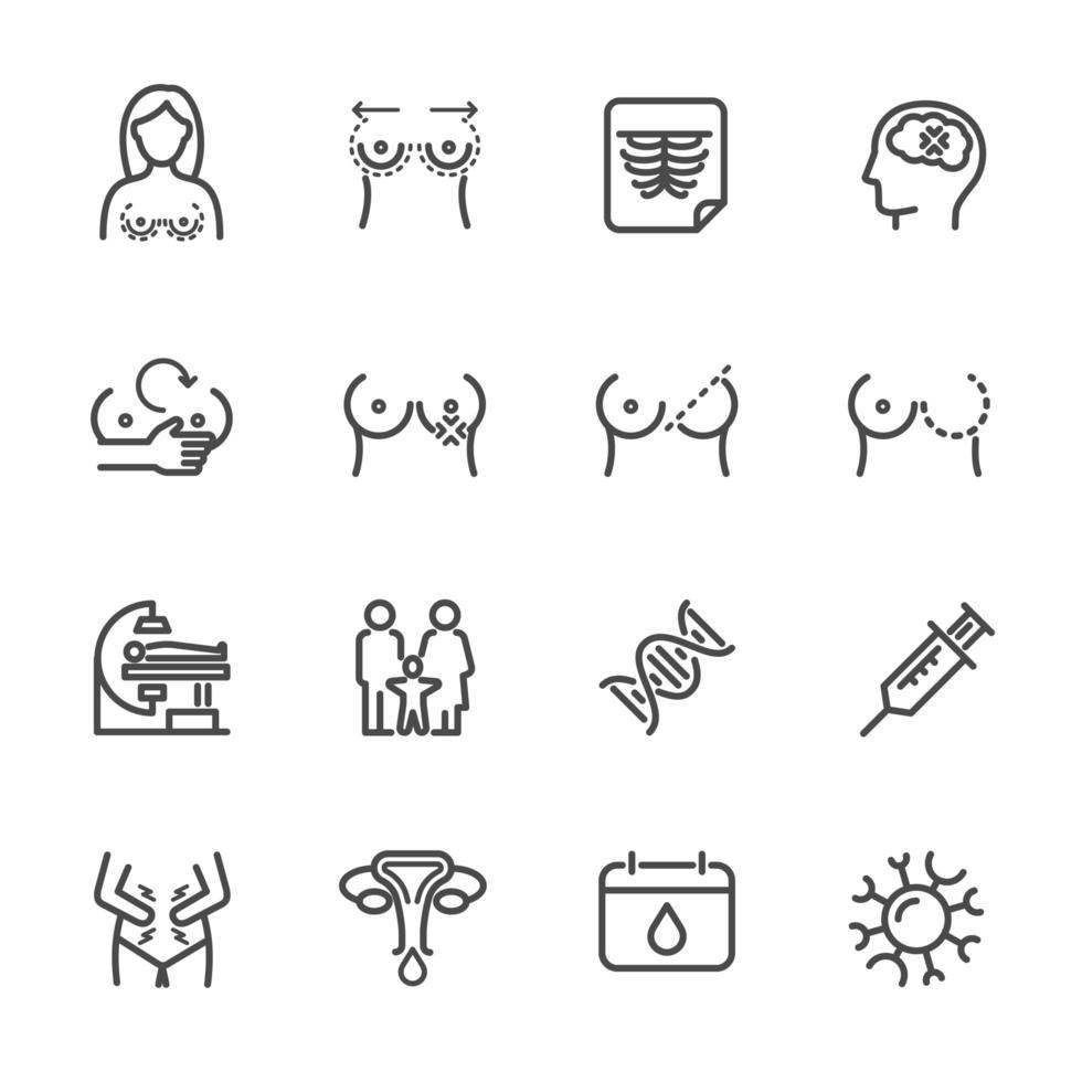problemas de mama y salud de las mujeres conjunto de iconos de pictogramas vector