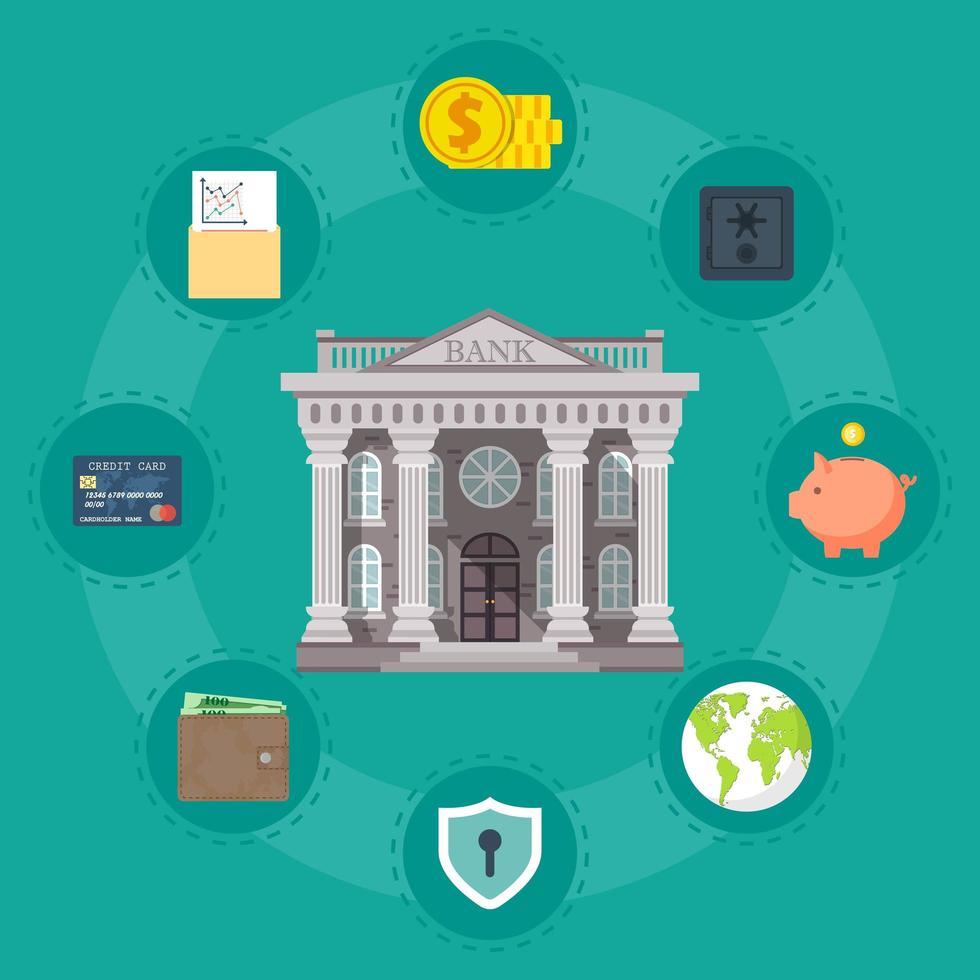 conceito bancário com ícones vetor