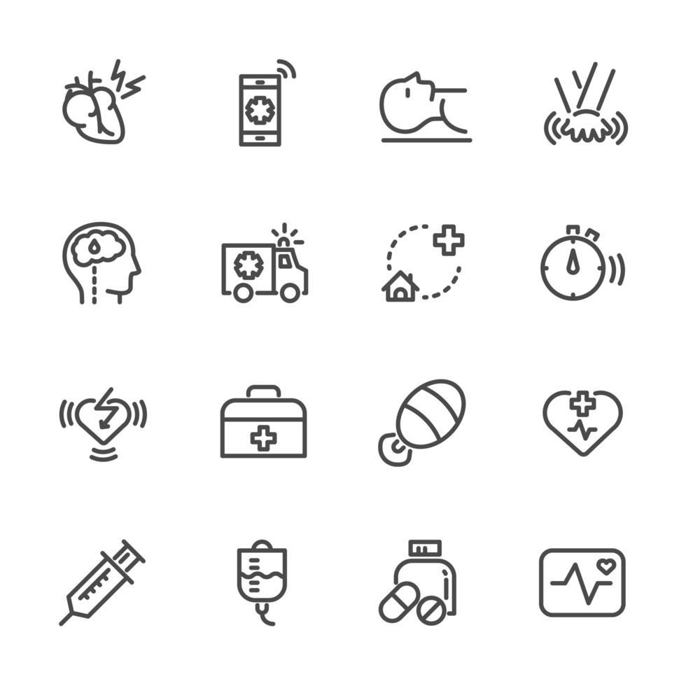 conjunto de iconos de primeros auxilios de ataque al corazón vector
