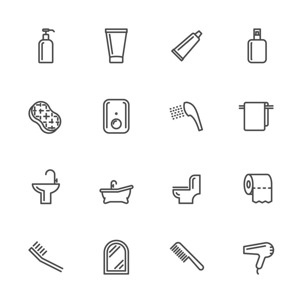 um conjunto de sinais e ícones de banheiro vetor