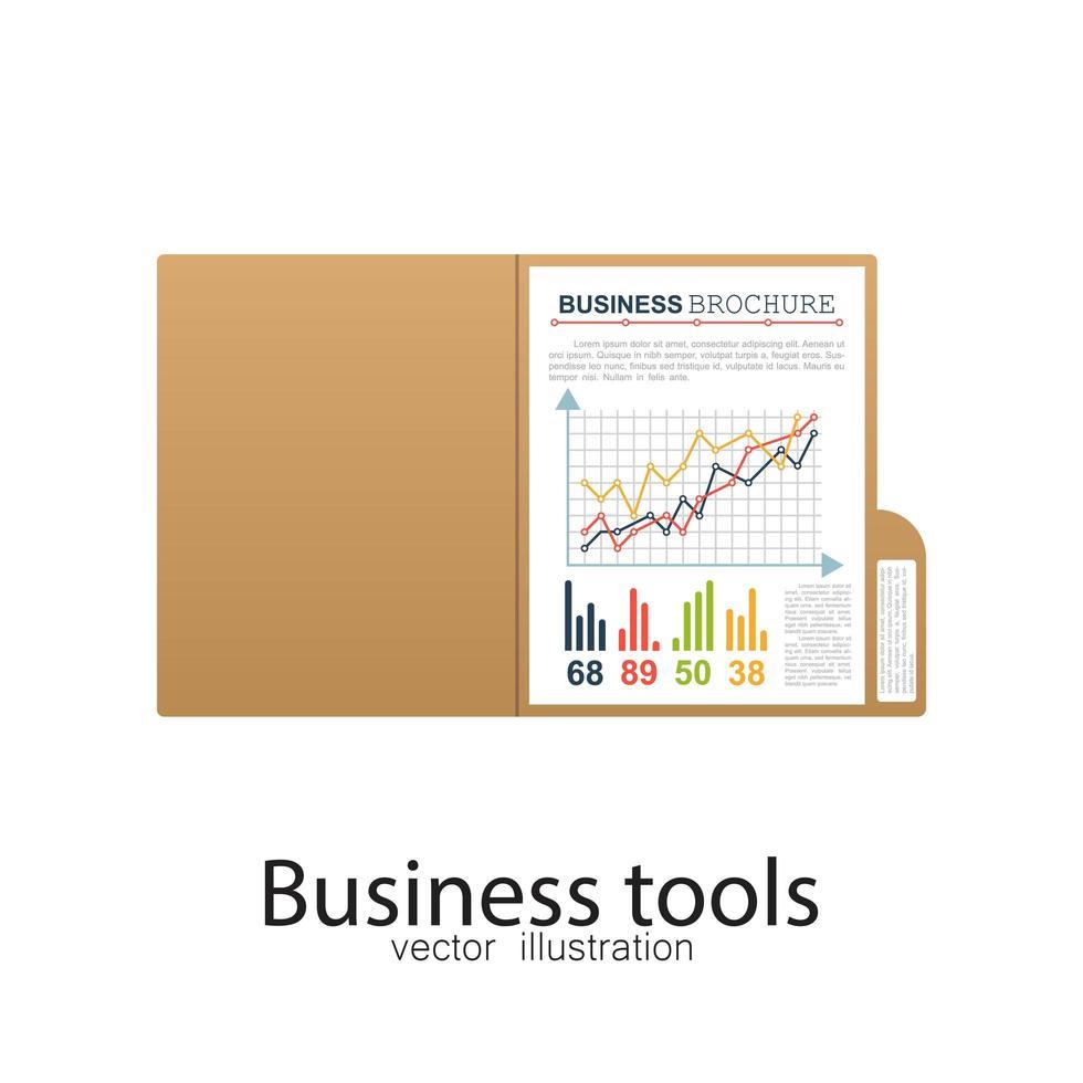 pasta de negócios com gráficos vetor