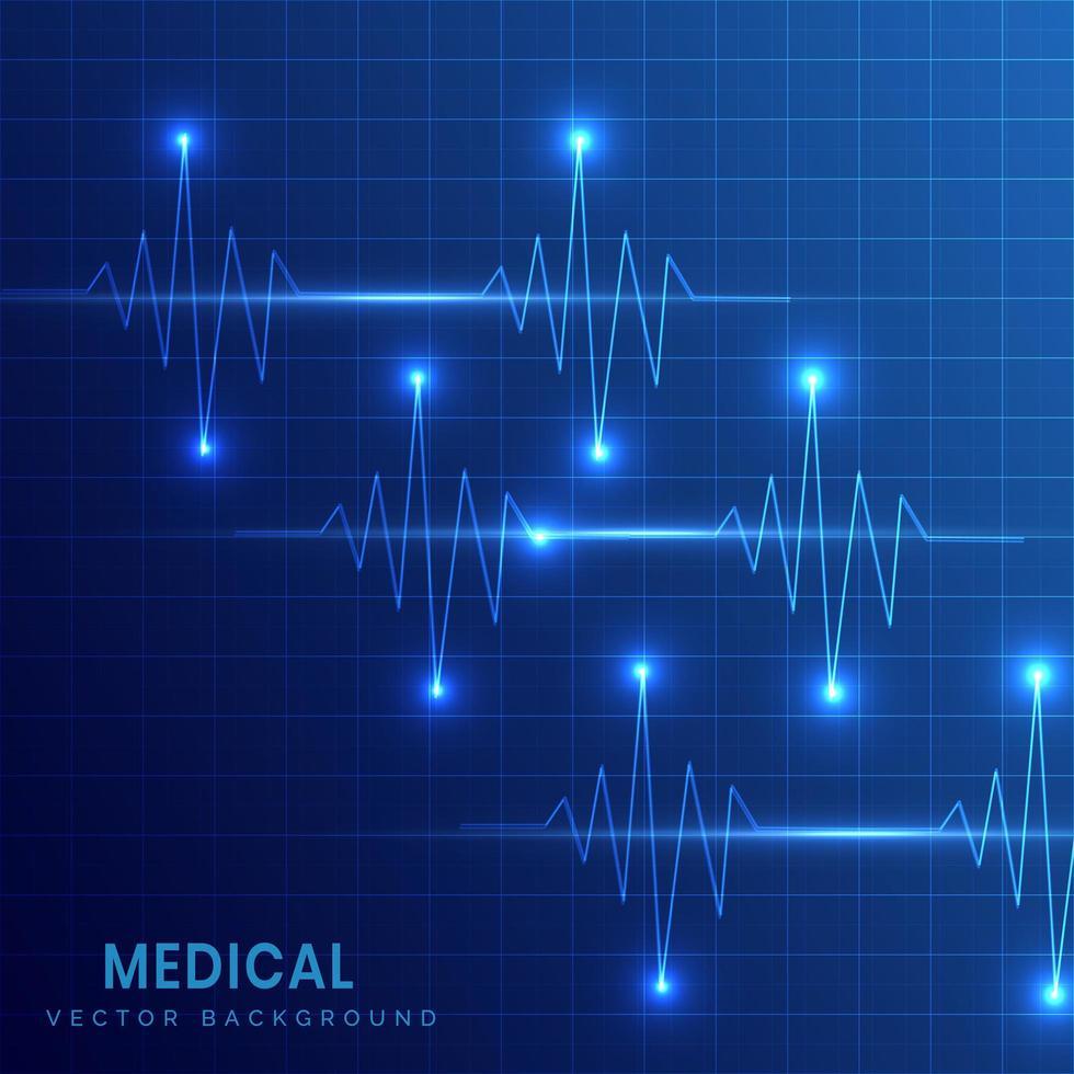 antecedentes médicos com ekg de batimentos cardíacos vetor