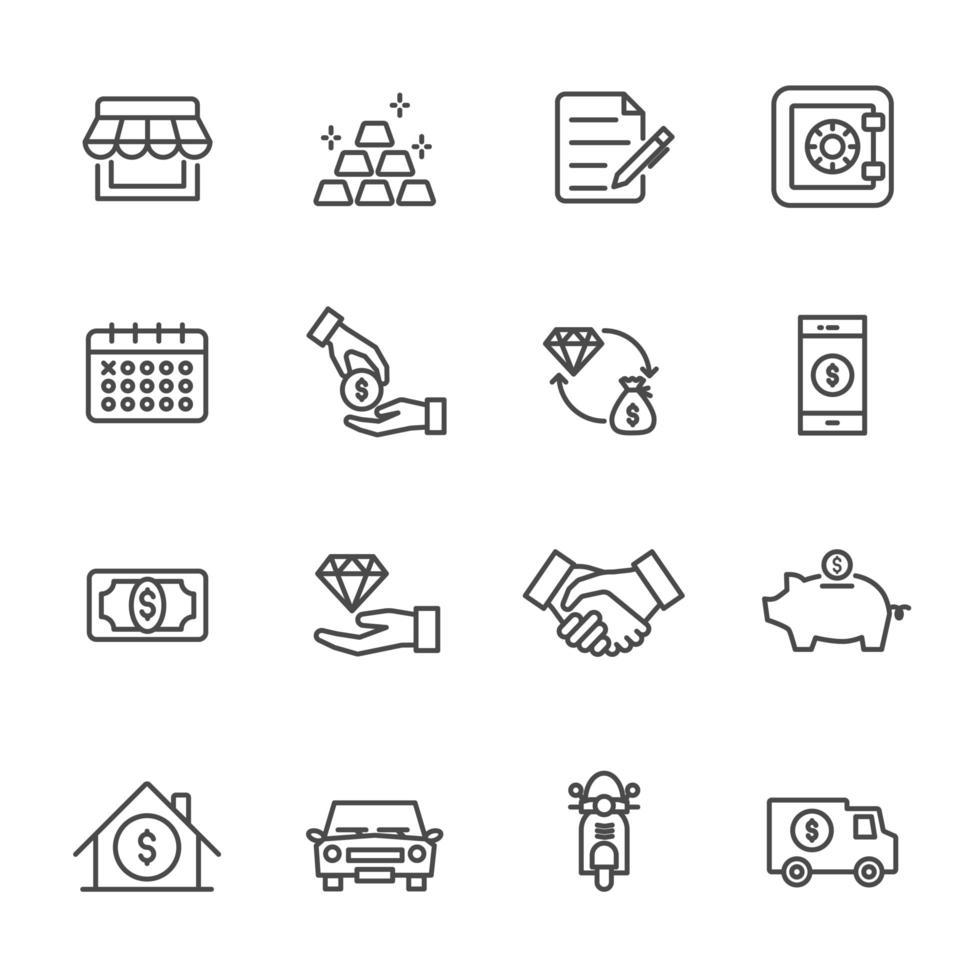 conjunto de ícones da loja de penhores vetor
