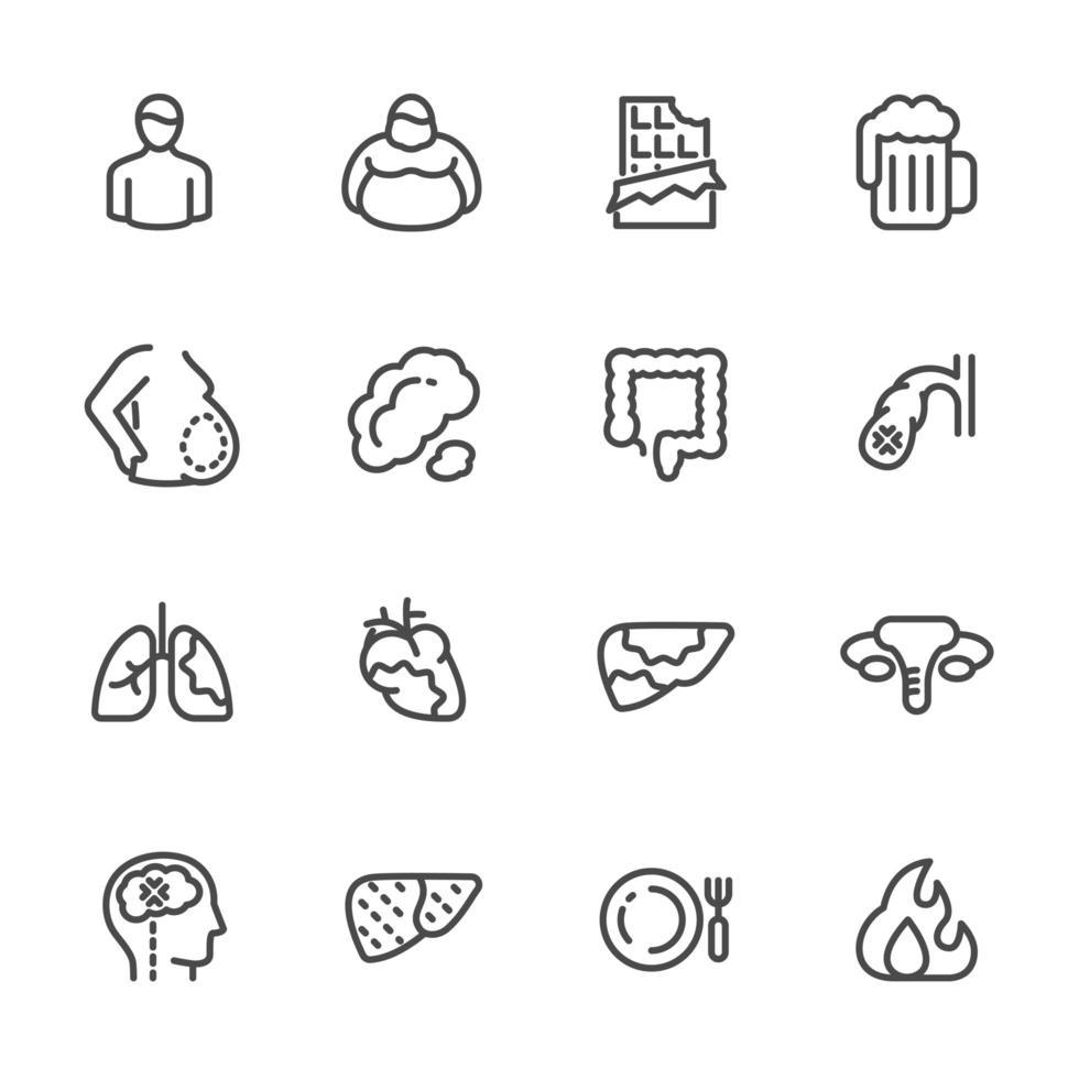 conjunto de iconos de pictograma de grasa abdominal vector