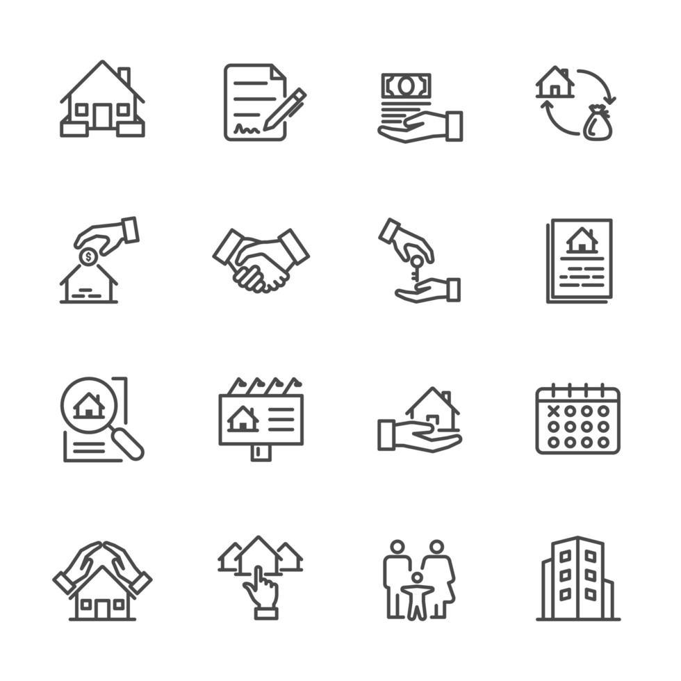 Conjunto de ícones de seguros imobiliários e residenciais vetor