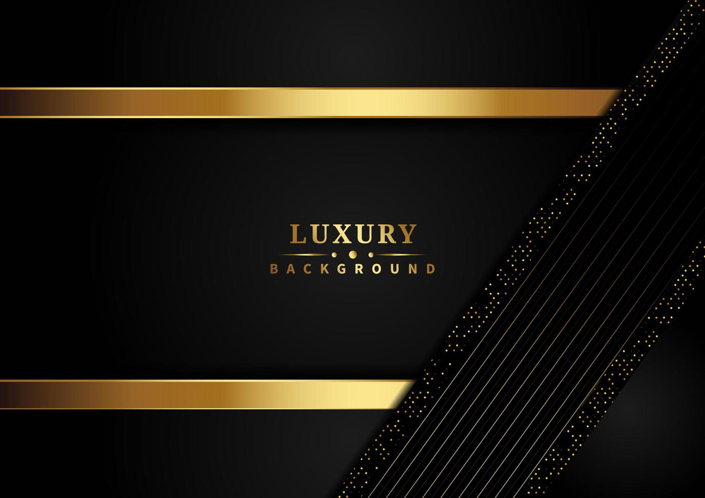Luxury gold stripes and glitter effects overlapping on dark background  vector