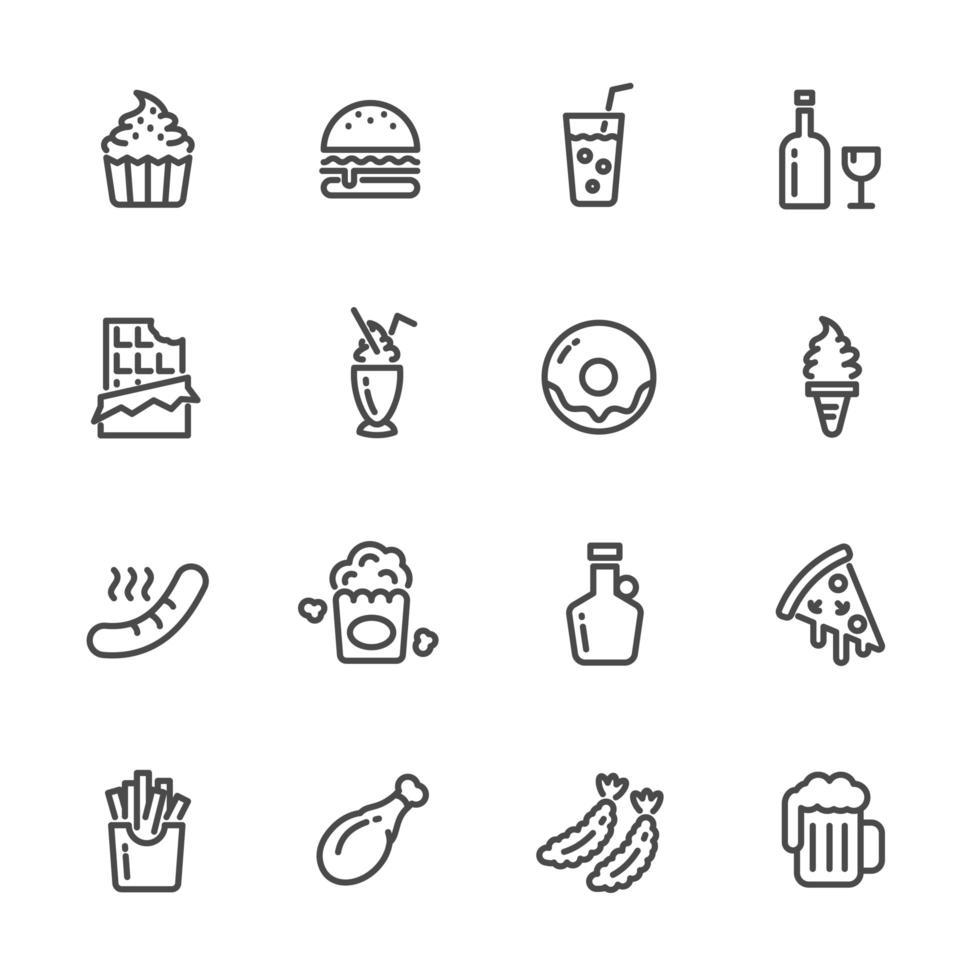 conjunto de ícones de pictograma de alimentos com alto teor calórico vetor