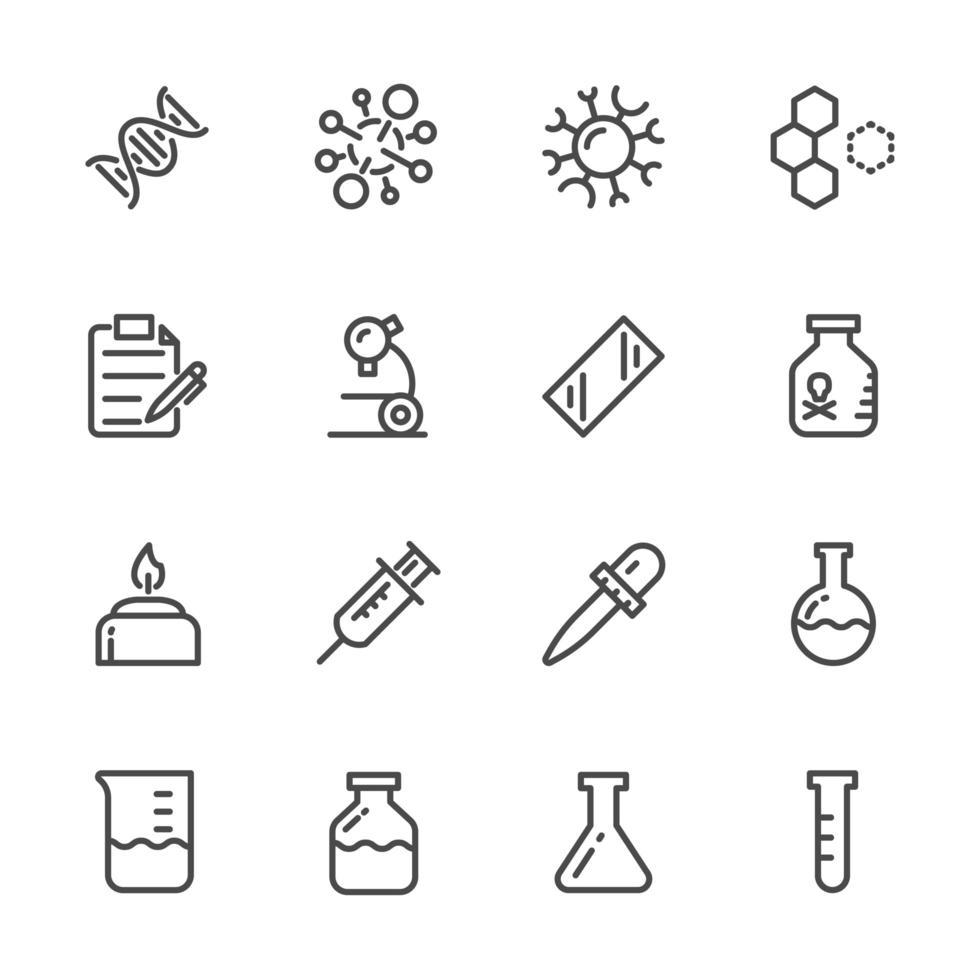 conjunto de ícones de equipamentos de laboratório vetor