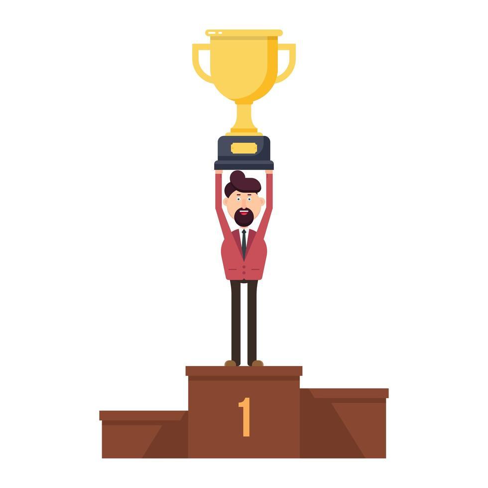 empresário no pódio segurando um troféu na mão vetor