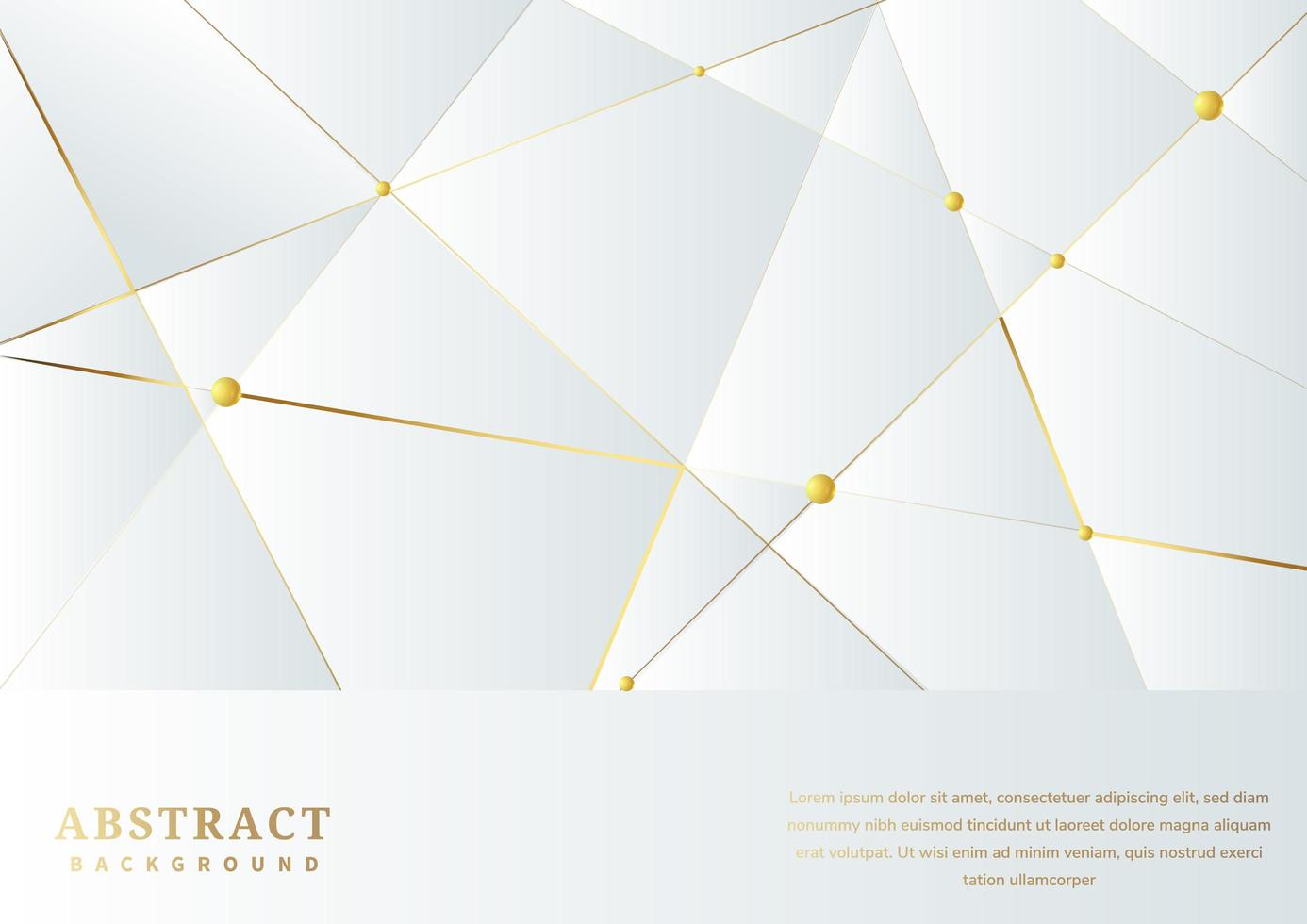 banner branco abstrato com triângulos e linhas douradas de fundo vetor