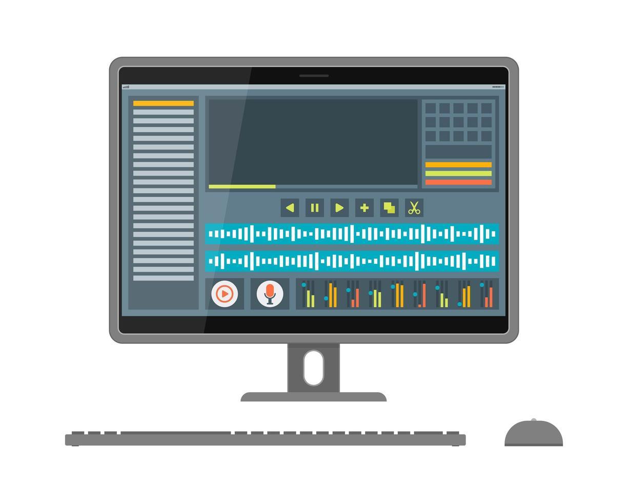 interfaz de editor de sonido y video en pantalla vector