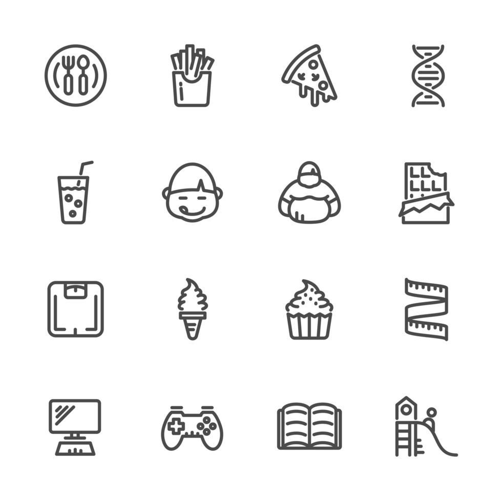 causas da obesidade infantil, conjunto de ícones de pictograma vetor