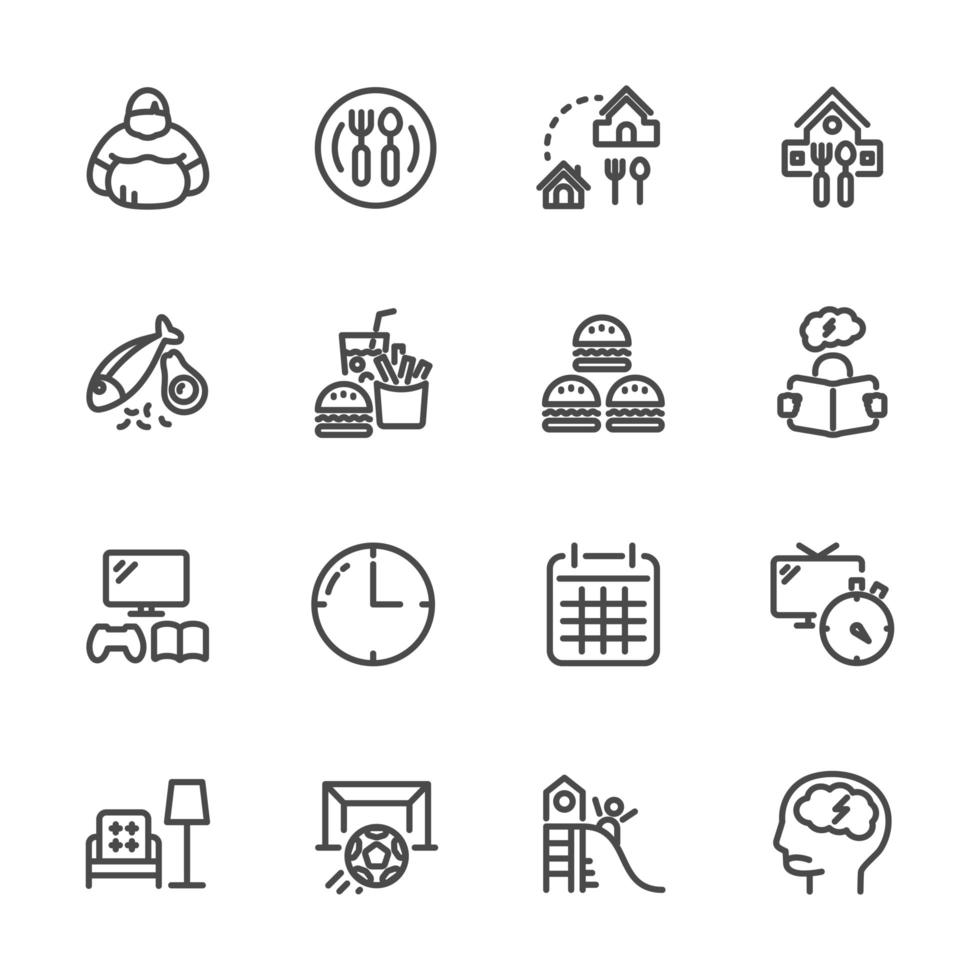 causas e prevenção da obesidade, conjunto de ícones de pictograma vetor