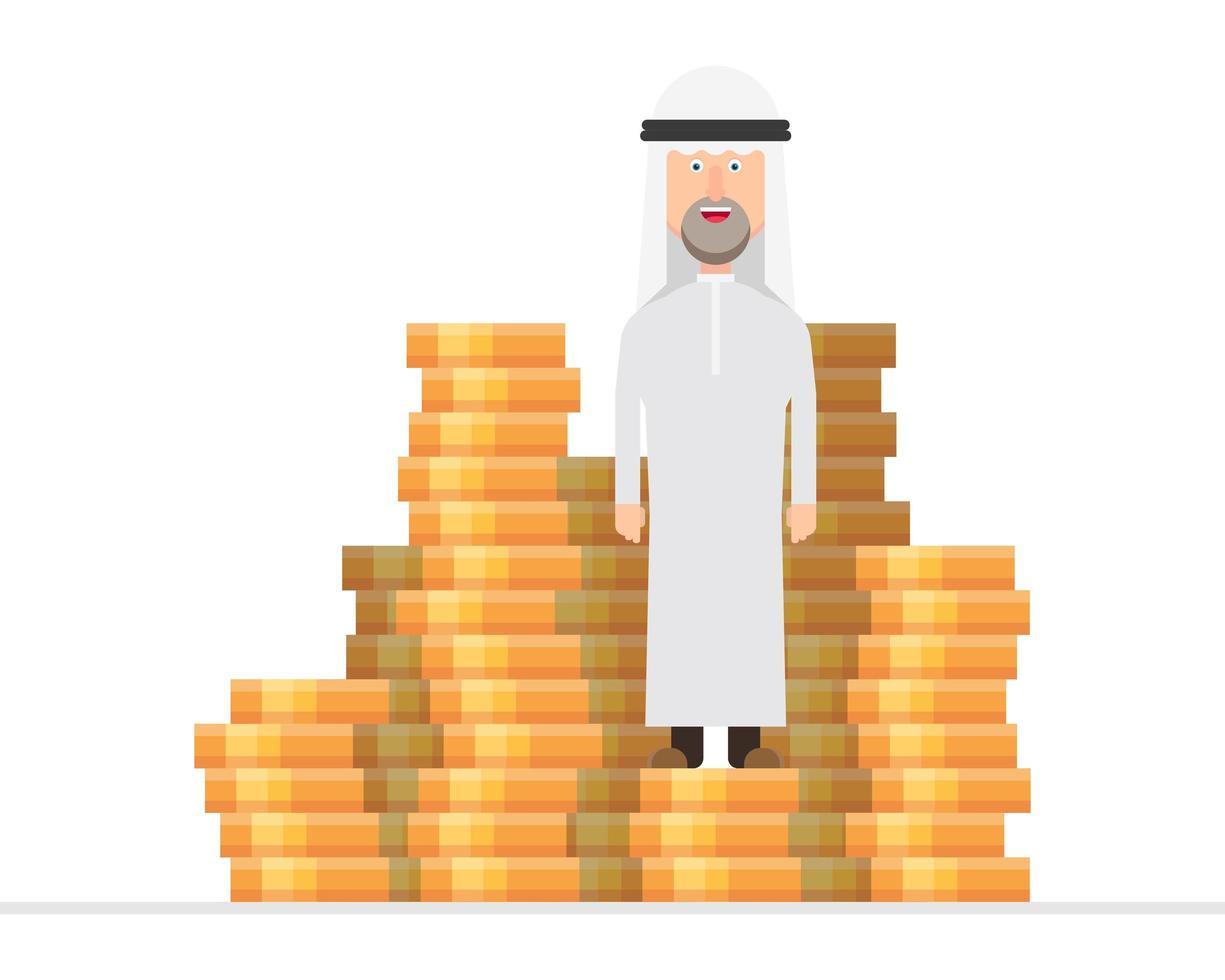 empresário árabe em cima de uma pilha enorme de dinheiro vetor