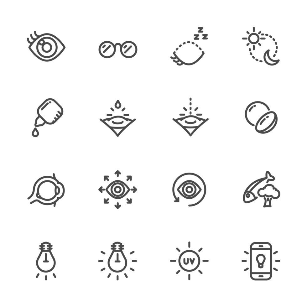 conjunto de ícones de pictograma de visão e saúde ocular vetor