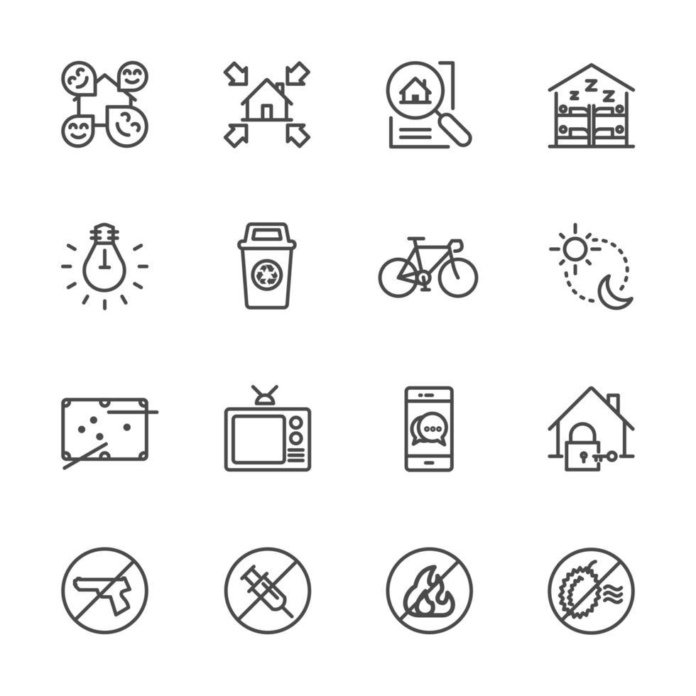 conjunto de iconos de viajero y mochilero vector