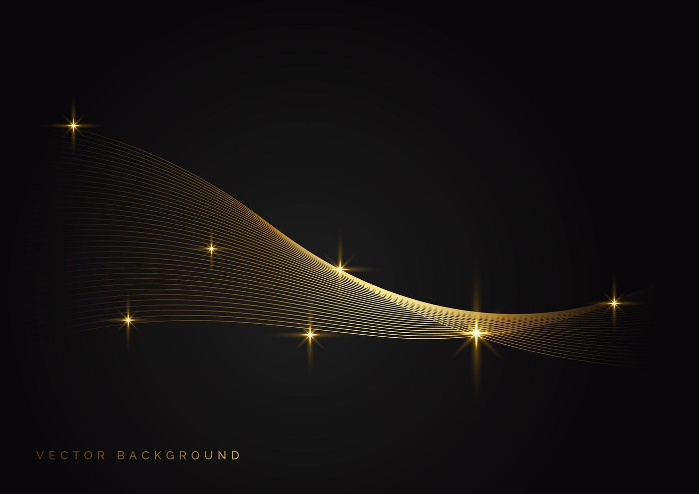 onda dourada abstrata em fundo escuro com efeito de luz vetor