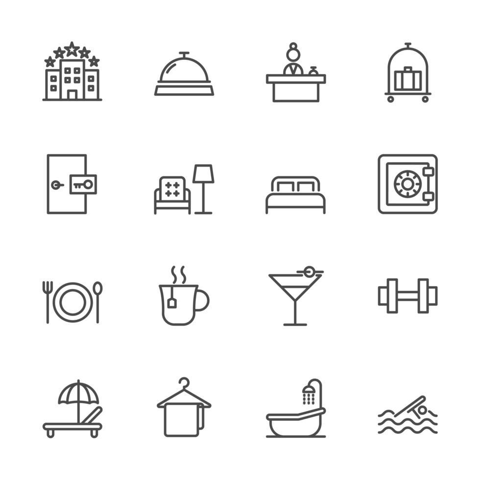serviços de hotel e conjunto de ícones de viagem vetor