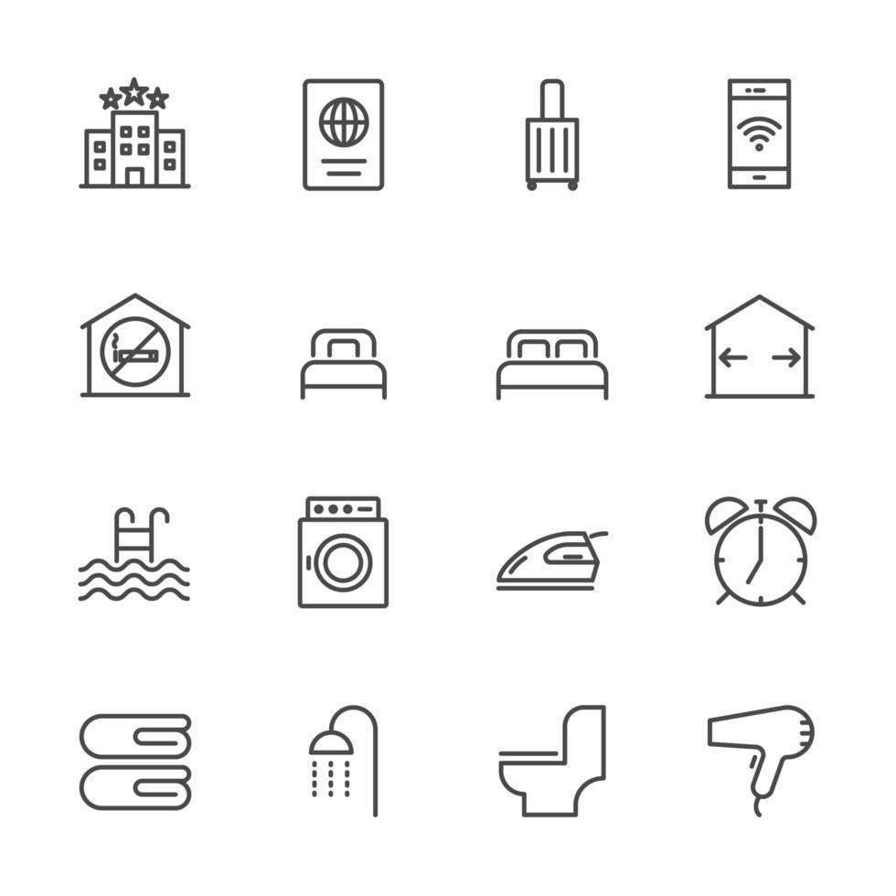 servicios de hotel y colección de iconos de viaje. vector