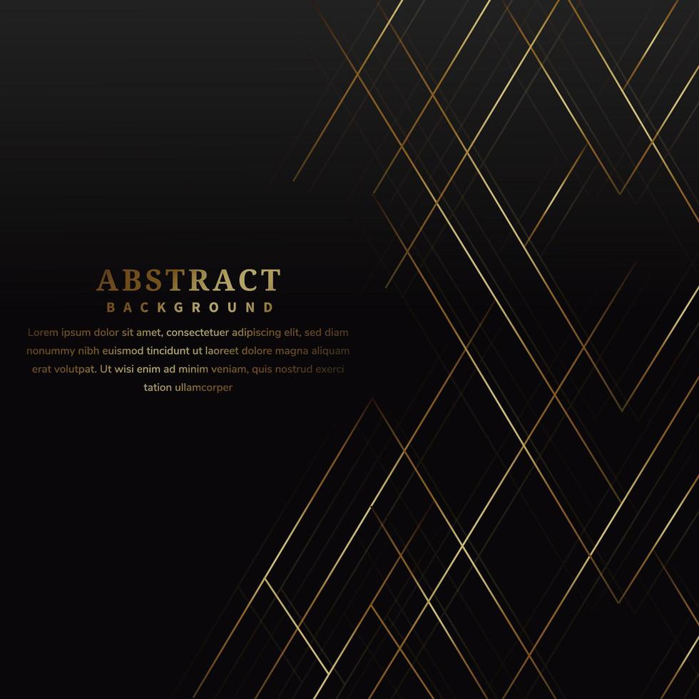 Abstract gold lines on black luxury-style background vector