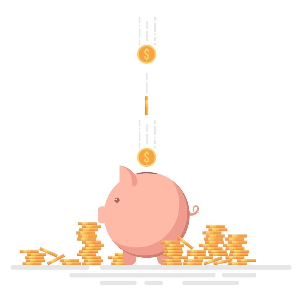 hucha con monedas aisladas vector