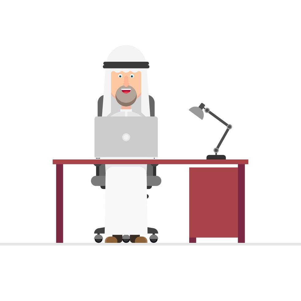 empresário árabe trabalhando vetor