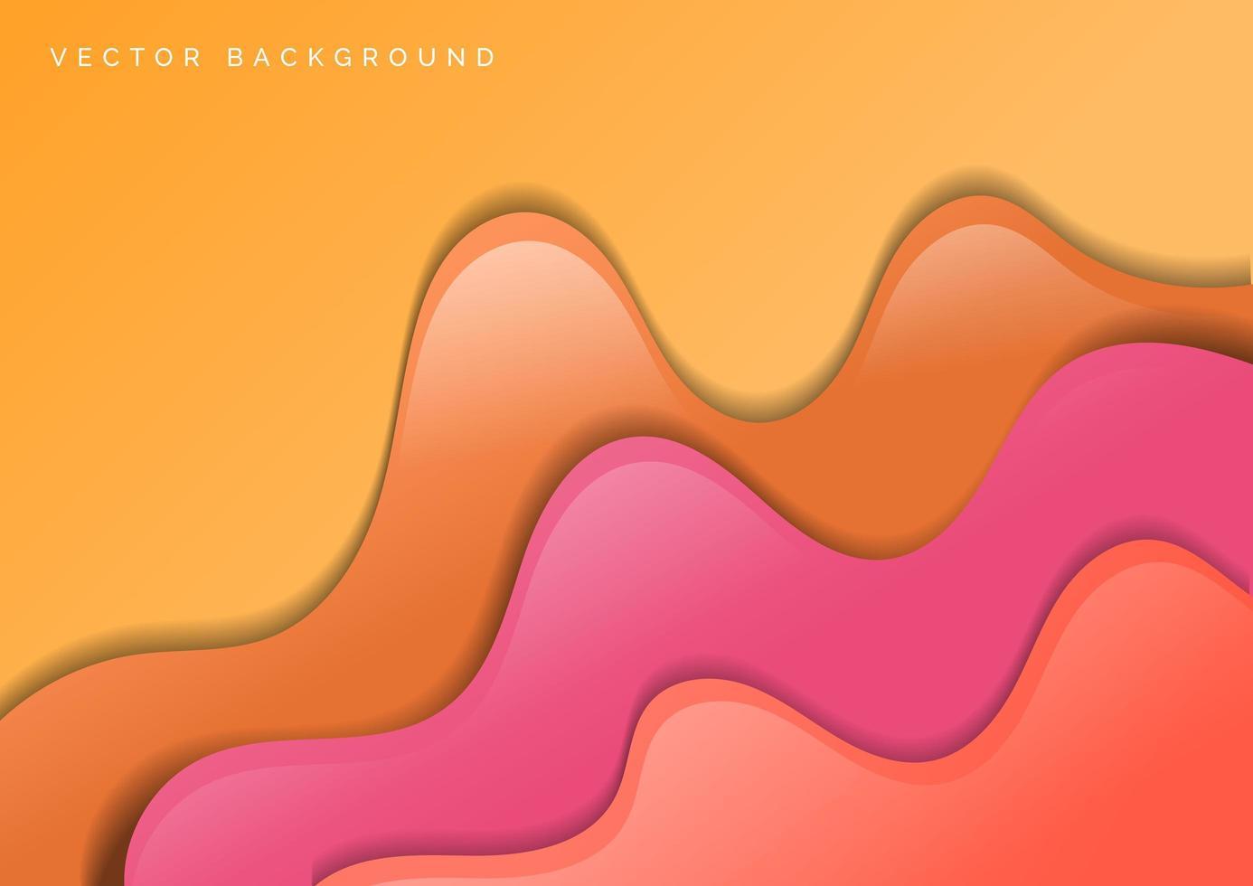 papel laranja e rosa abstrato cortado fundo ondulado vetor