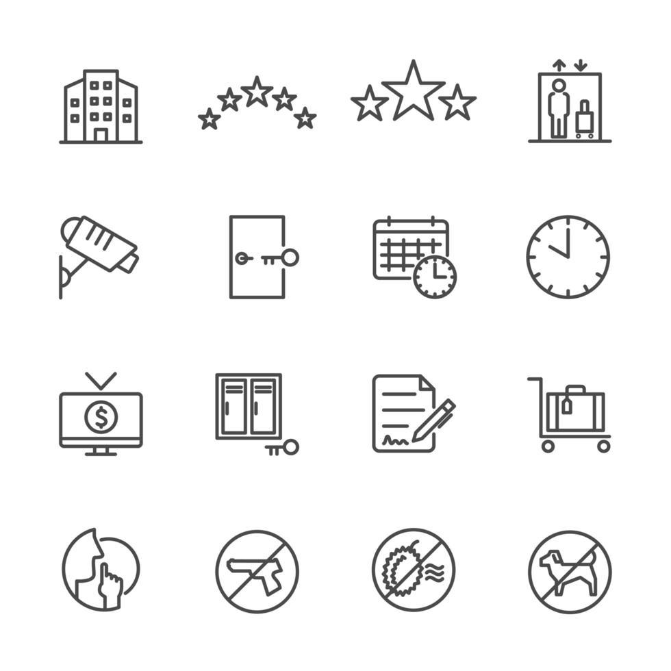 coleção de ícones de serviços de hotel vetor
