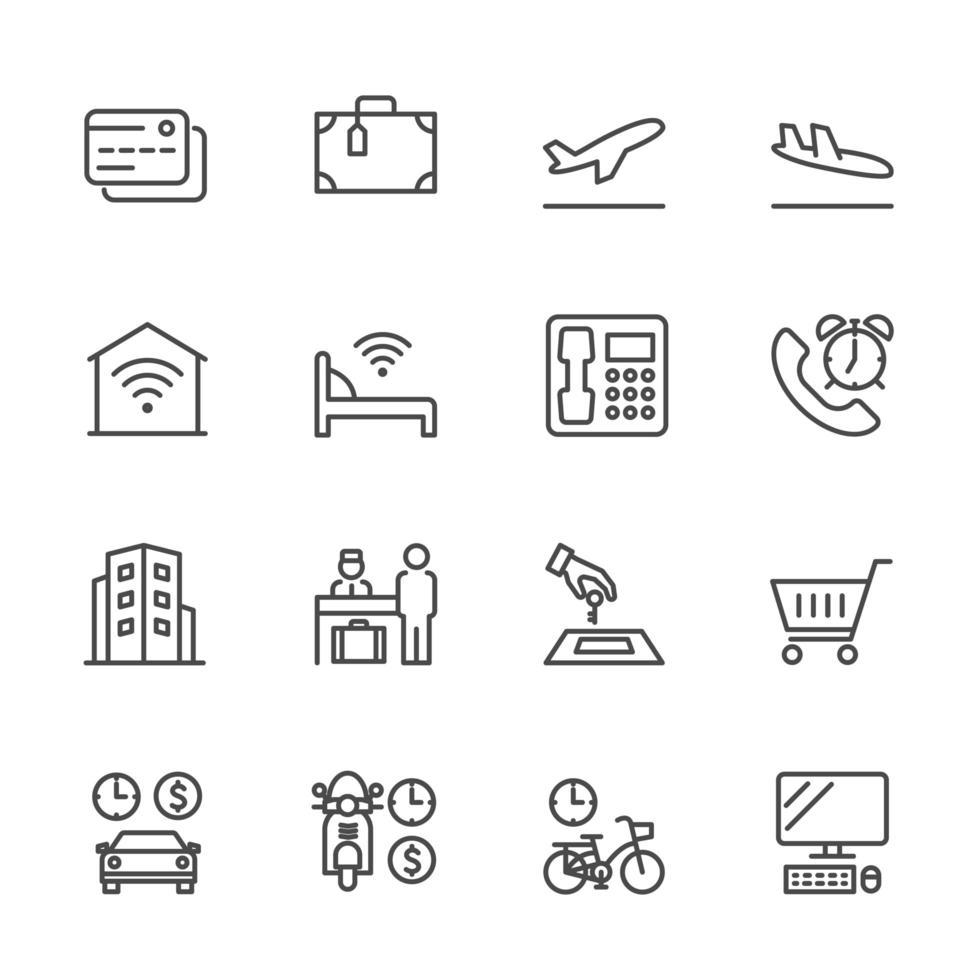 conjunto de iconos de servicios de viajes y turismo vector
