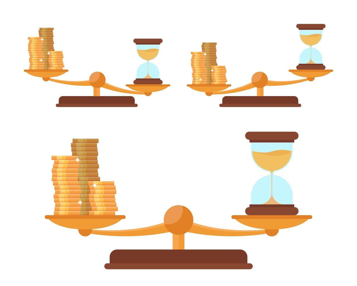 balanza con monedas de oro y reloj de arena vector