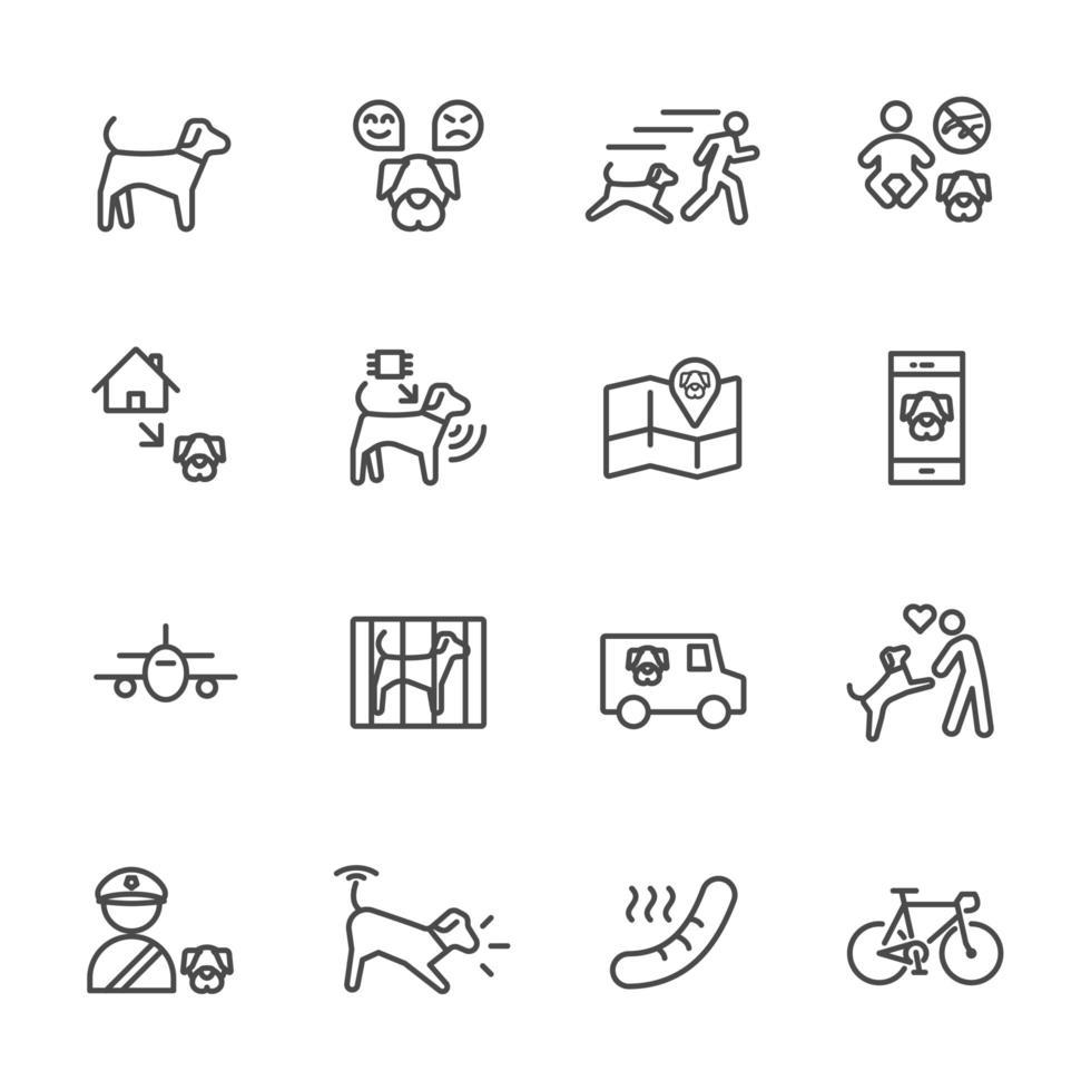 colección de iconos de dueños de perros y mascotas vector
