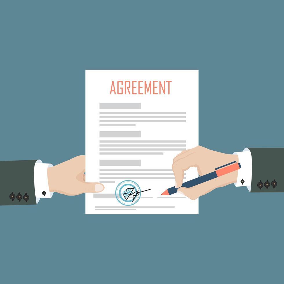 homem assina contrato de documento em papel vetor