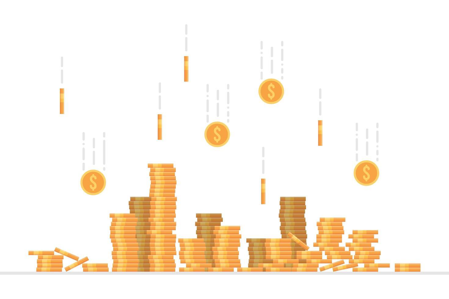moedas de dólar caindo vetor
