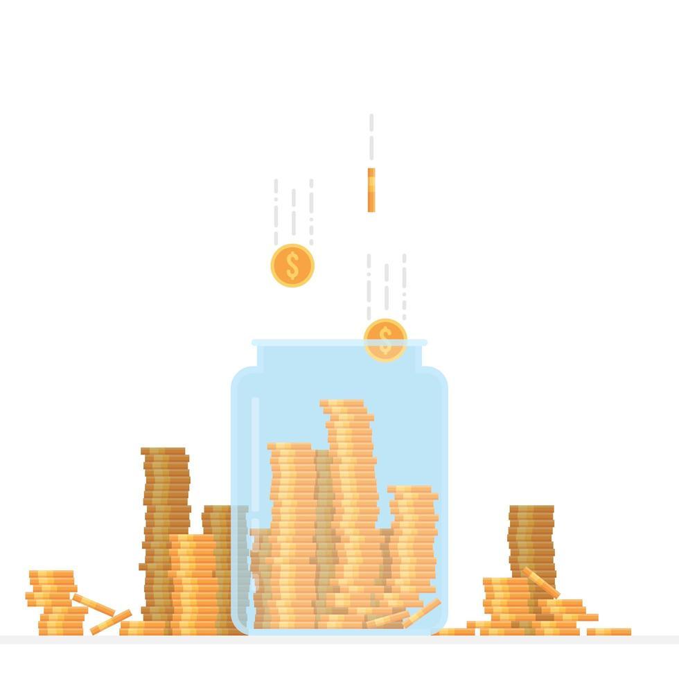 jarra de vidro cheia de moedas vetor