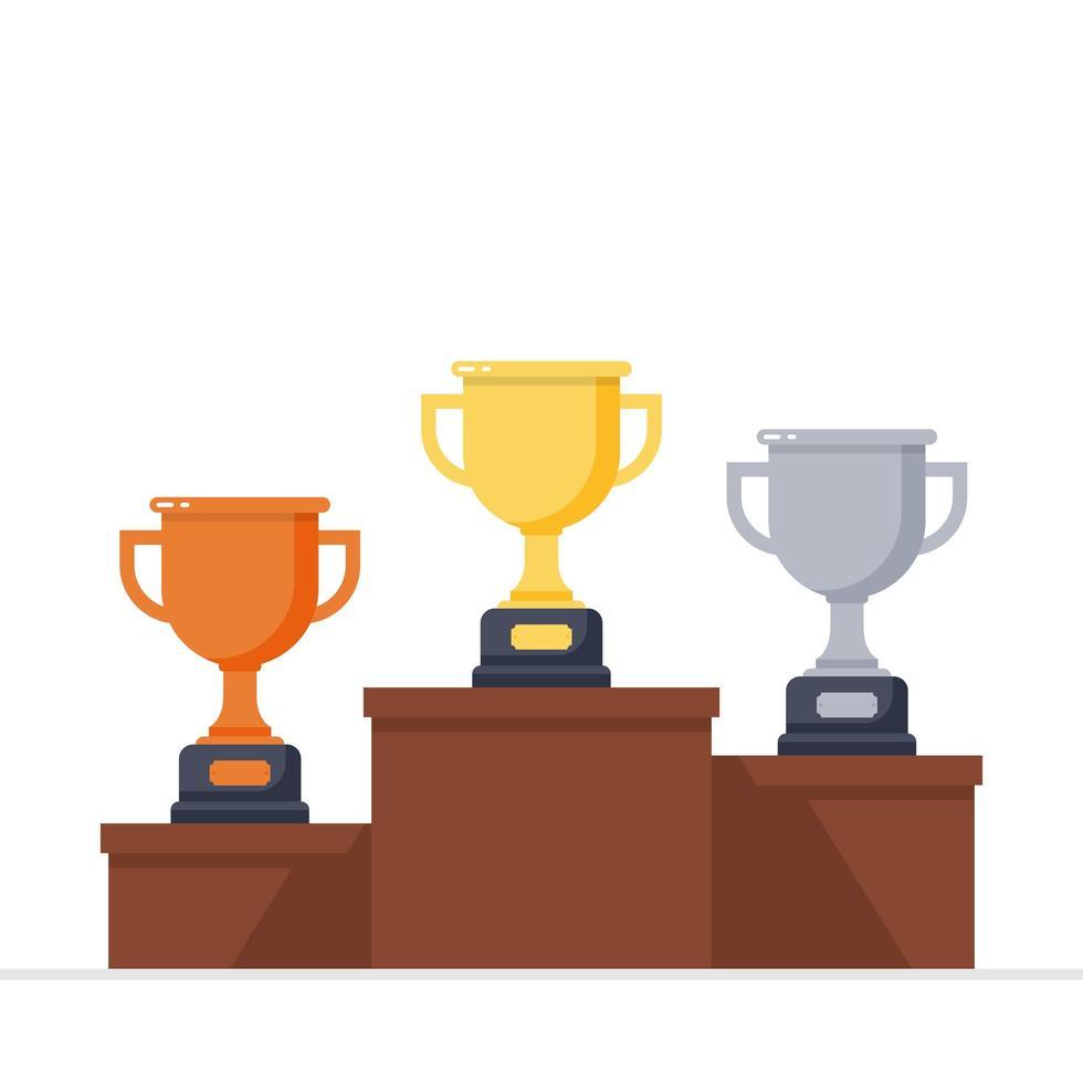 troféus de ouro, prata e bronze no pódio dos vencedores vetor