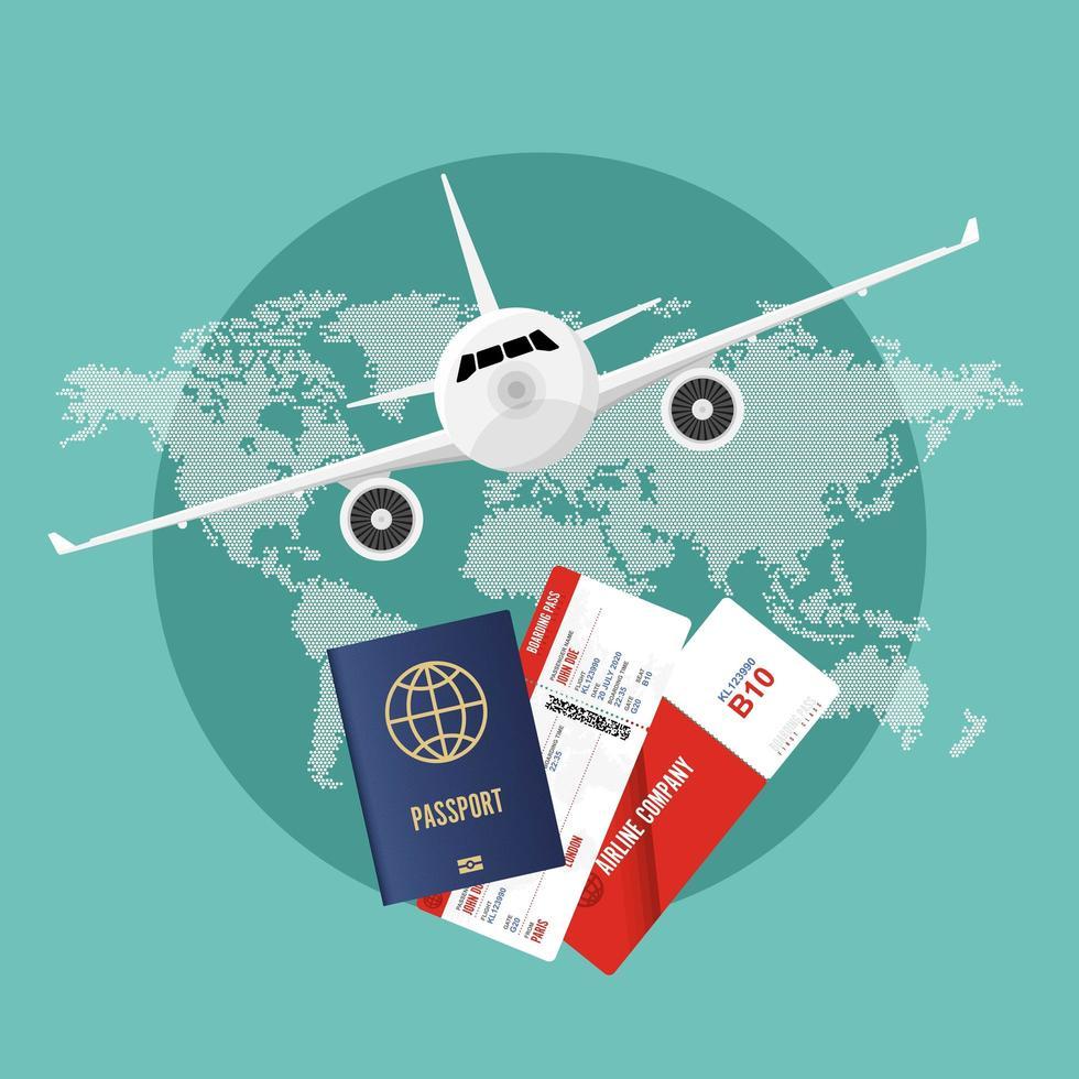 concepto de viaje en avión vector