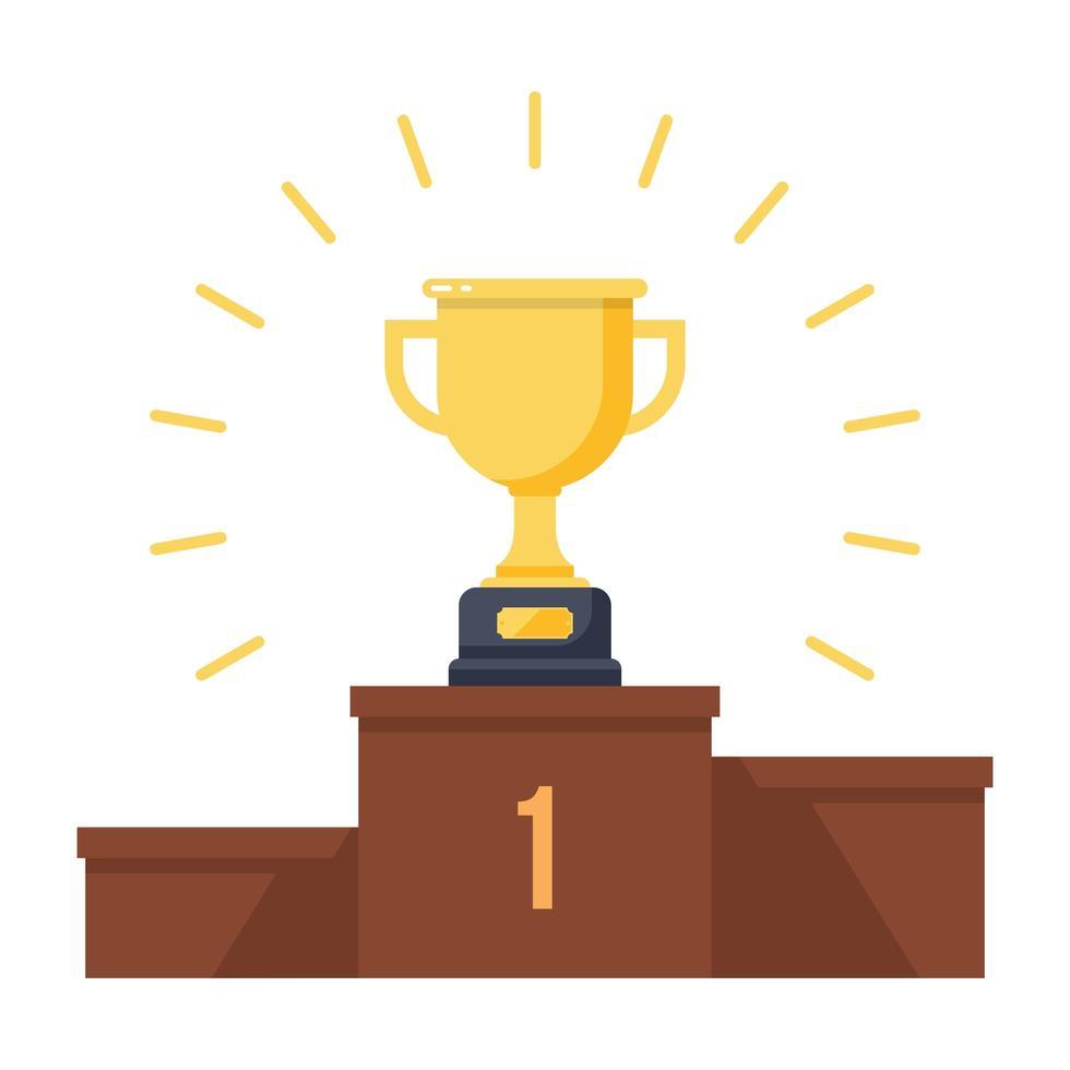 trofeo de oro en el podio de los ganadores vector