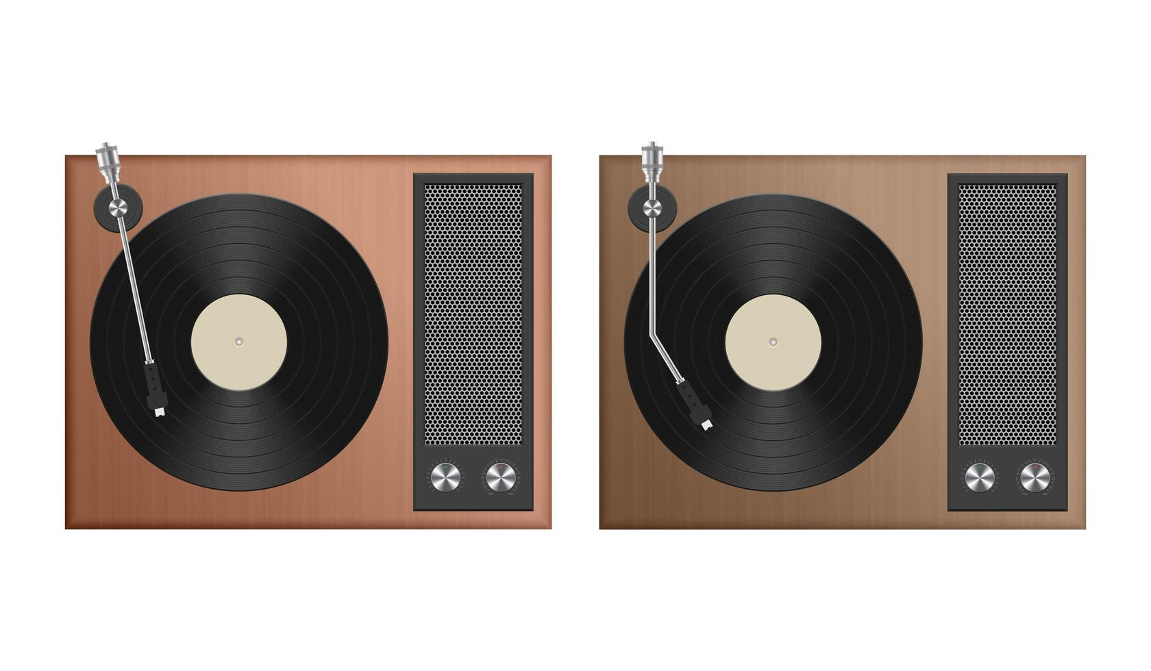 Set of analog record player isolated  vector