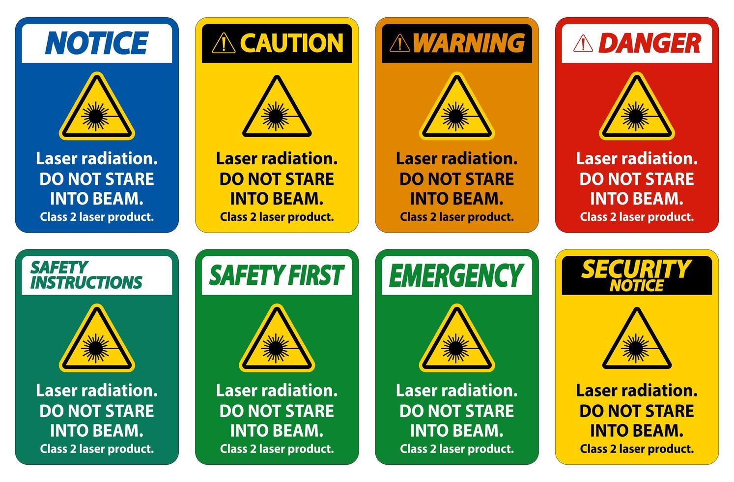 sinais de radiação laser vetor