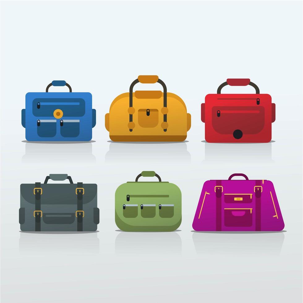conjunto de bolsa de viagem vetor