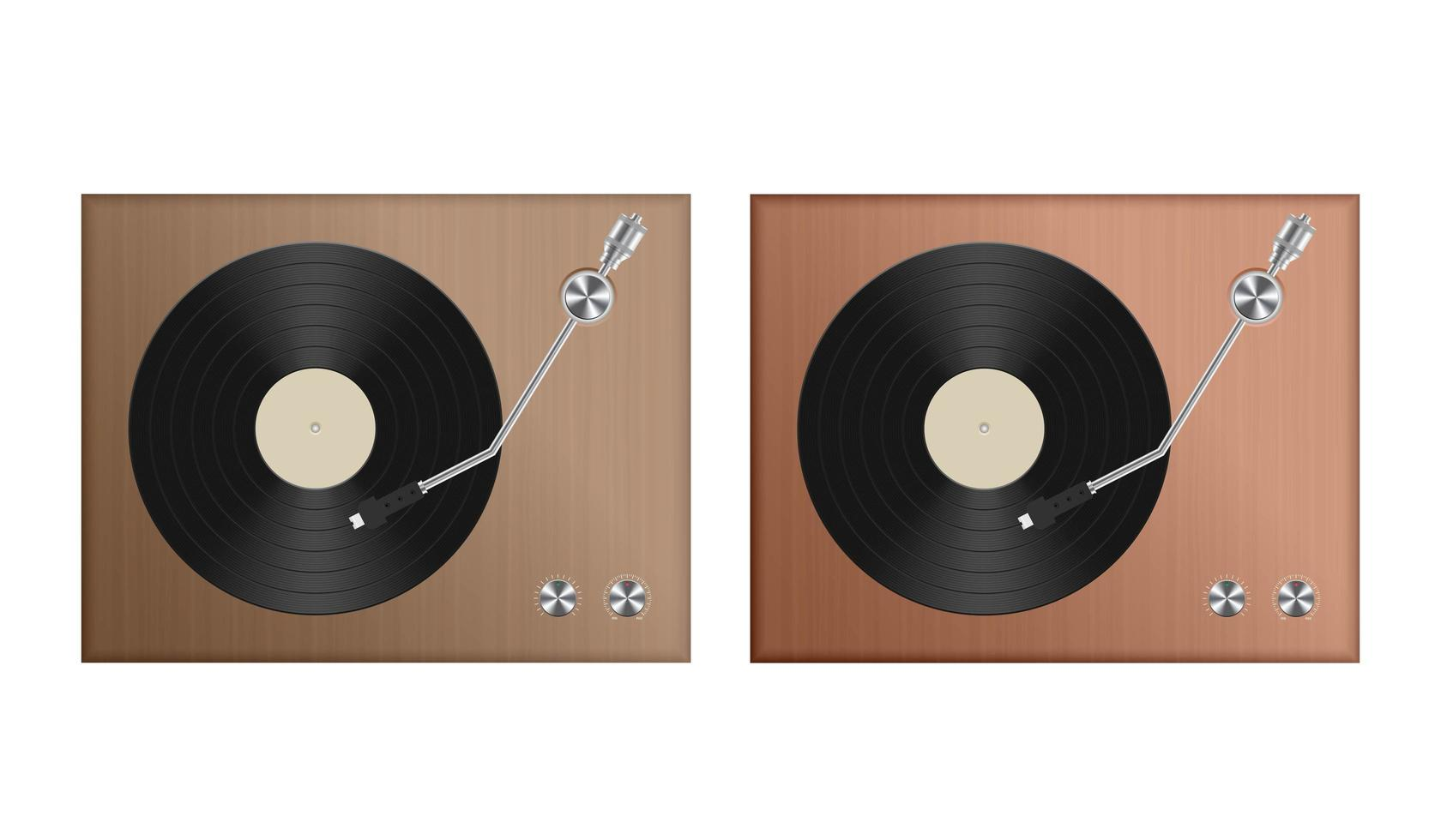 Set of retro record player isolated vector