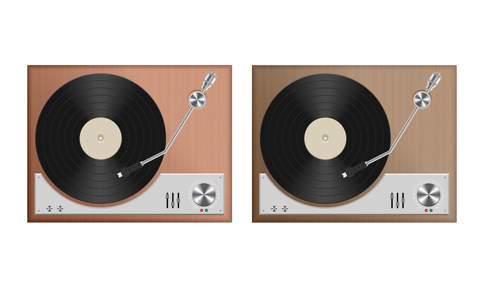 Set of vintage record player  vector