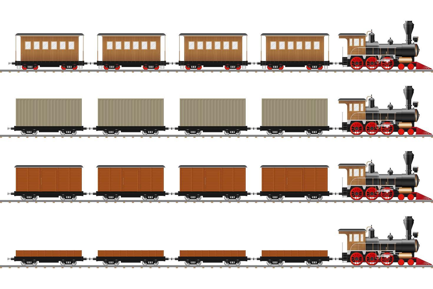 locomotora clásica y vagones vector