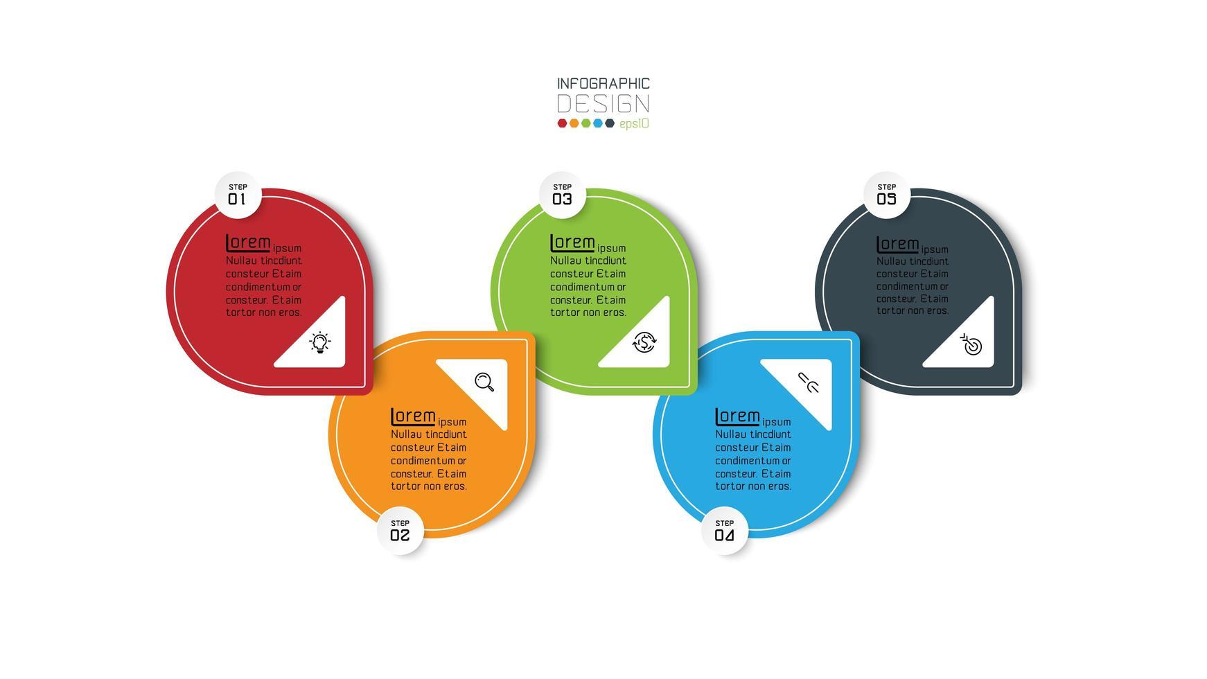 quatro etapas em etapas coloridas. vetor