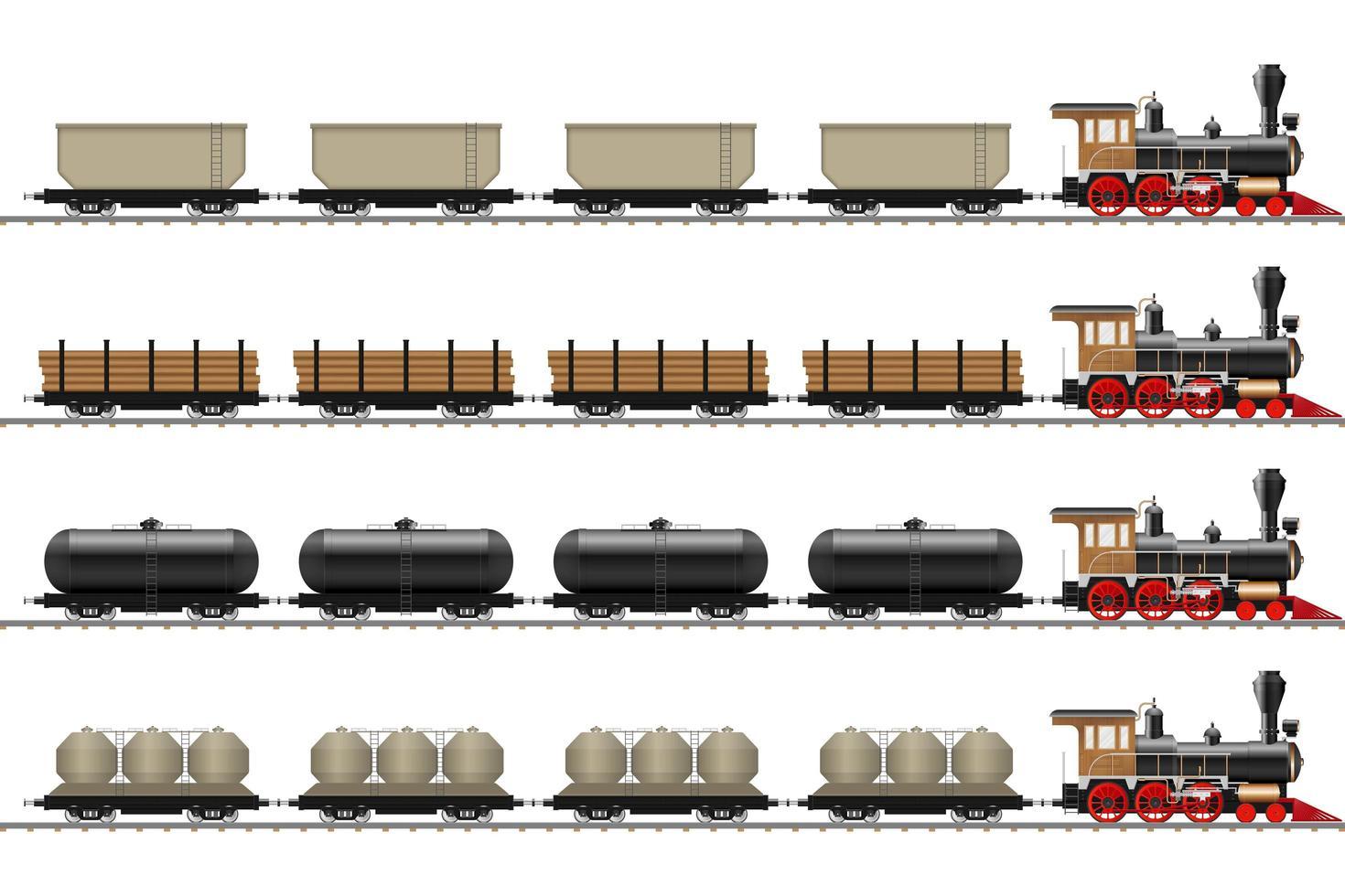 velha locomotiva e vagões isolados vetor