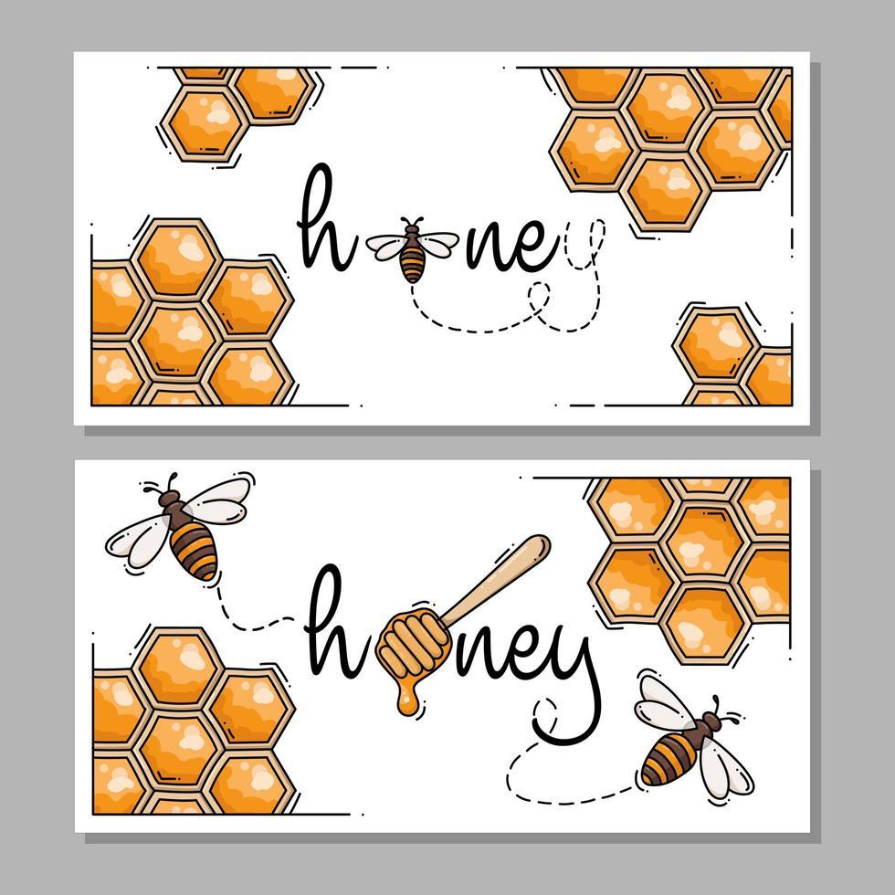 etiquetas o logotipos rectangulares de miel y abejas vector