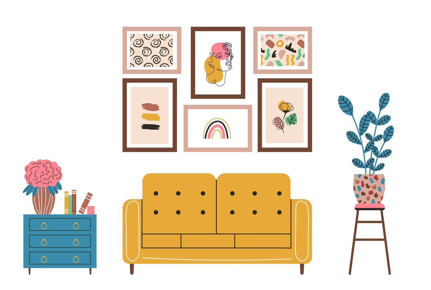 elementos de design de interiores móveis modernos sala de estar vetor