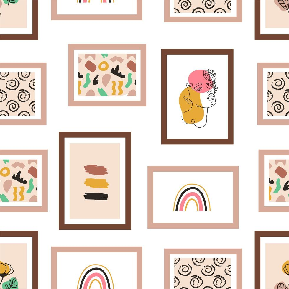 Picture Frames Hanging on the Wall Seamless Pattern vector