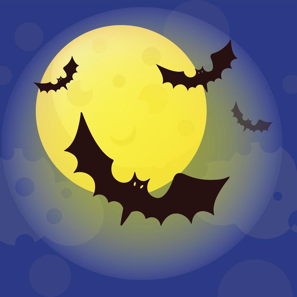 morcegos de halloween voando vetor